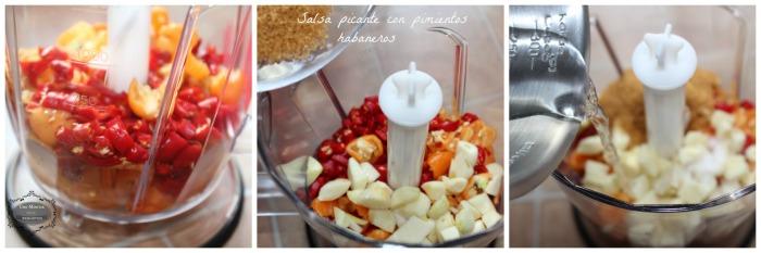 Salsa picante con pimientos habaneros